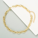 exaggerated gold thick chain punk hiphop fashion necklace NHLL277882