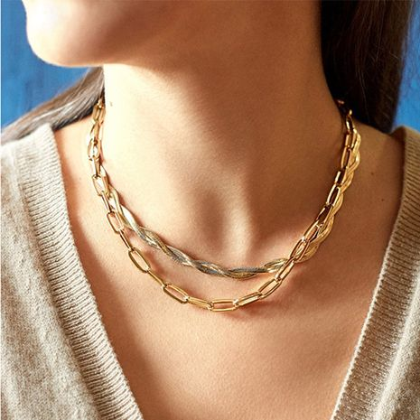 simple new golden necklace  NHLL277888's discount tags