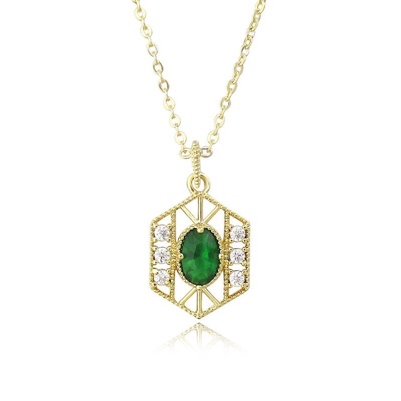 Fashion retro baroque gold-plated emerald necklace  NHLJ277890