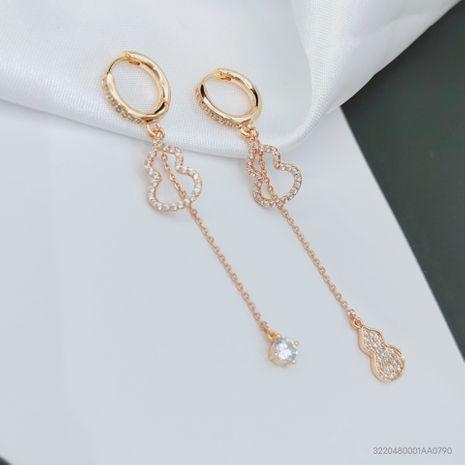 gold-plated zircon long tassel earrings  NHLJ277891's discount tags