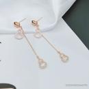 goldplated zircon long tassel earrings  NHLJ277891