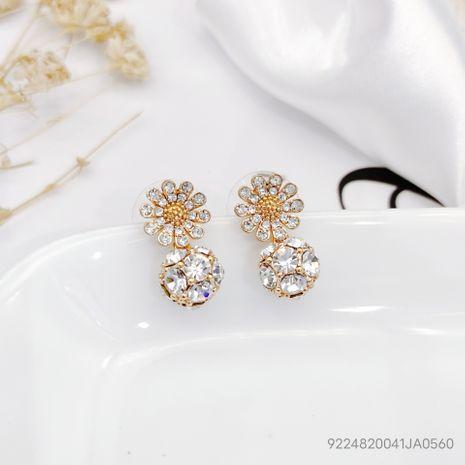fashion  daisy diamond crystal ball earrings  NHLJ277893's discount tags