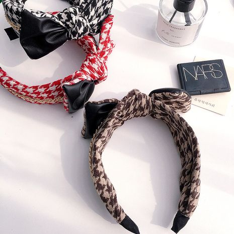 New Korean Houndstooth Pin PU Bowknot headband NHHI277949's discount tags