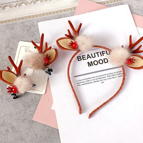 New Korean felt rabbit fur ball Christmas series Elk horns hair  clip or headband  NHHI277957's discount tags
