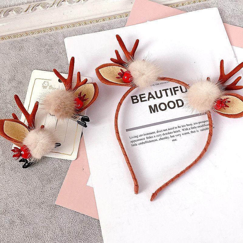 New Korean felt rabbit fur ball Christmas series Elk horns hair  clip or headband  NHHI277957