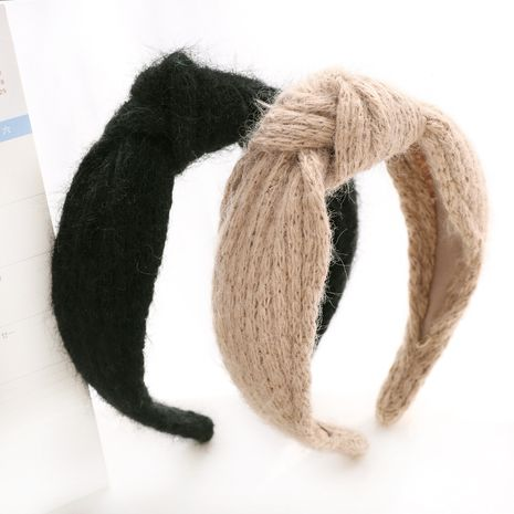 striped retro woolen knitted middle knot headband  NHOU277987's discount tags
