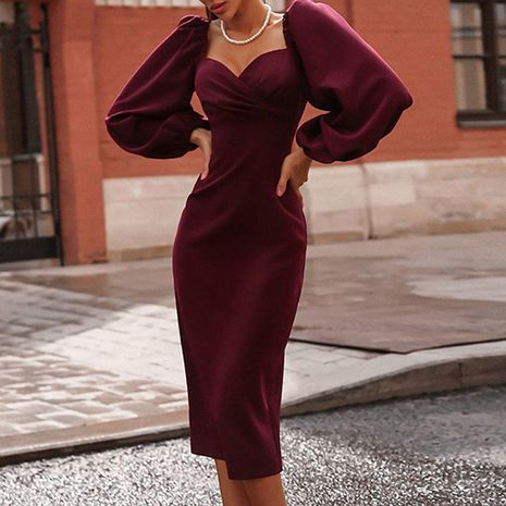 puffy sleeves square neckline sexy backless dress NHUO278656's discount tags