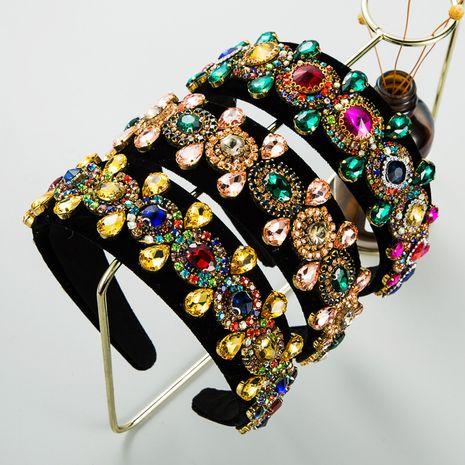 Bandeau en velours or avec strass de luxe baroque rétro NHLN277589's discount tags