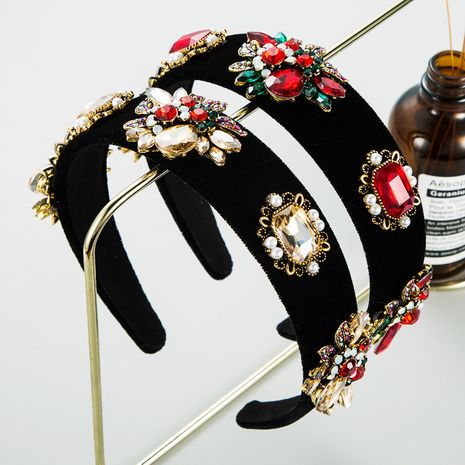 black gold velvet cloth multi-layer floral pearl headband  NHLN277592's discount tags
