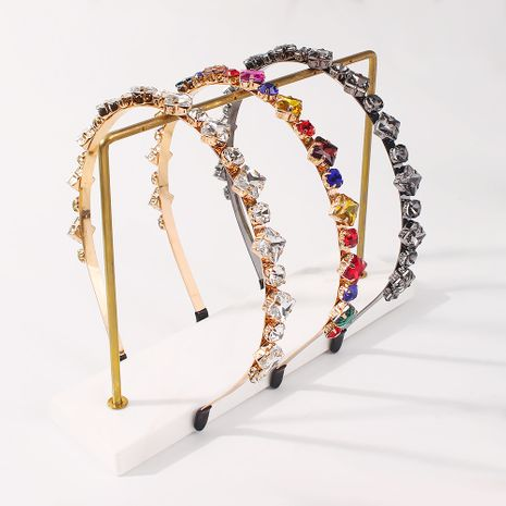 hot-selling new  simple glass diamond creative geometric  headband  NHMD277610's discount tags