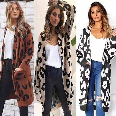 new leopard printed knitted jacket cardigan women's sweater NHUO278197's discount tags