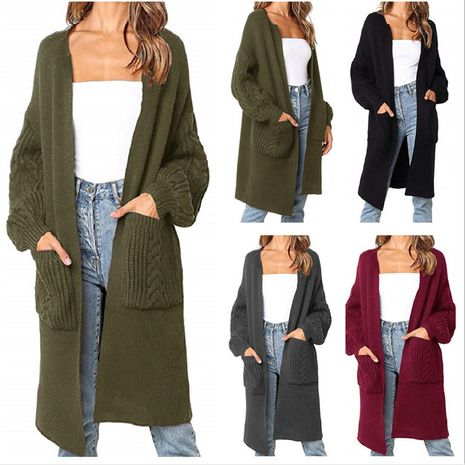 new solid color V-neck knitted cardigan jacket sweater  NHUO278193's discount tags
