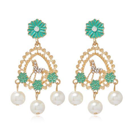fashion metal diamond drop pearl earrings  NHSC278715's discount tags