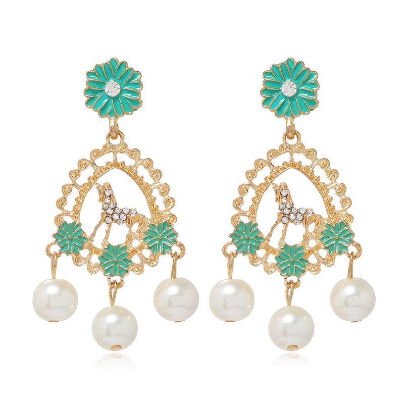 fashion metal diamond drop pearl earrings  NHSC278715