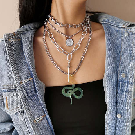 punk style cross chain necklace NHXR289109's discount tags