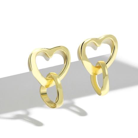 925 Silber Nadel vergoldet einfache herzförmige Anhänger Ohrringe NHJQ289139's discount tags