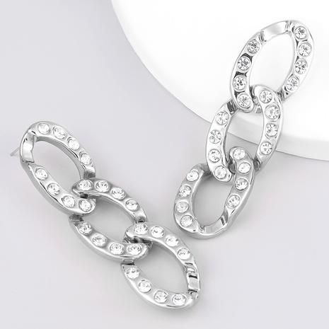 fashion oval diamond-studded earrings  NHJE289141's discount tags