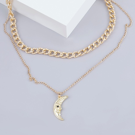 Collar con colgante de luna de aleación de múltiples capas de moda NHJE289149's discount tags