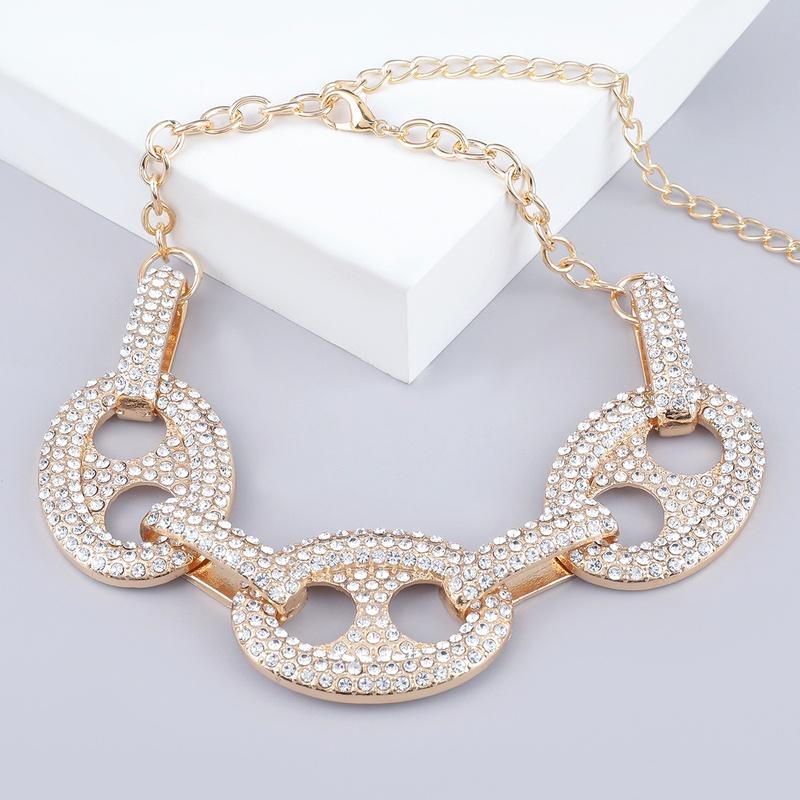 oval diamond fashion necklace NHJE289163