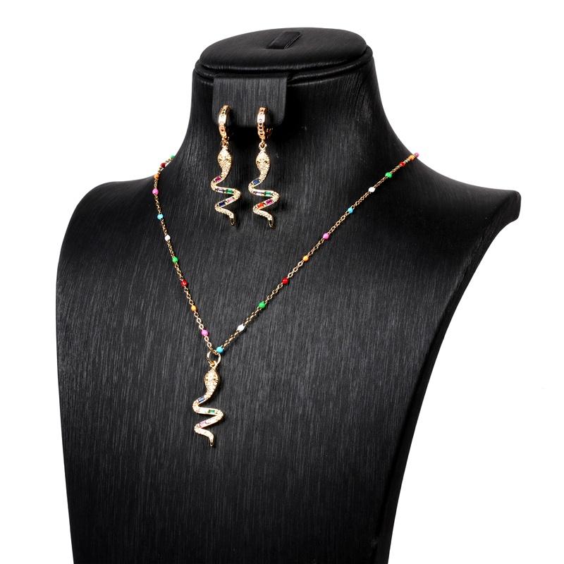 diamond serpentine necklace earrings set wholesale NHPY289190