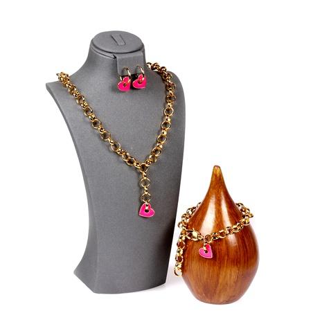 goteo de aceite en forma de corazón collar de cadena gruesa amor pendientes hip hop pulsera conjunto de joyas NHPY289195's discount tags