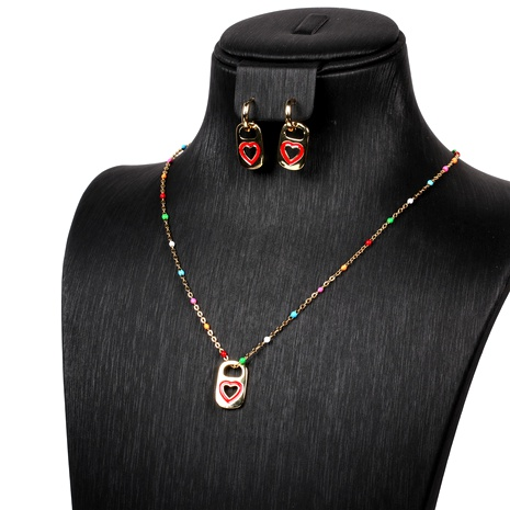handmade oil drop heart pendant earrings chain necklace jewelry set wholesale NHPY289203's discount tags