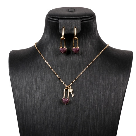 micro-inlaid zircon heart-shaped lock earring chain necklace jewelry set NHPY289204's discount tags