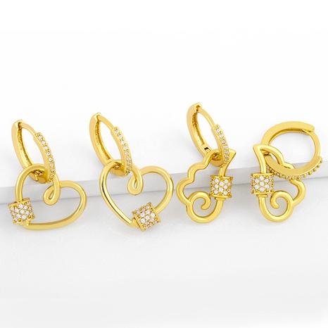 peach heart simple earrings  NHAS289225's discount tags
