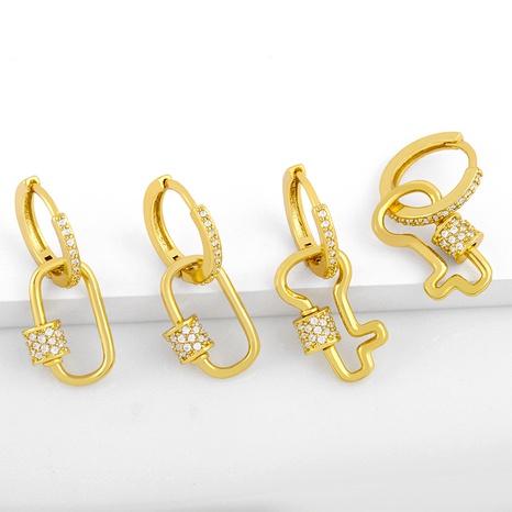 diamond retro circle earrings  NHAS289227's discount tags
