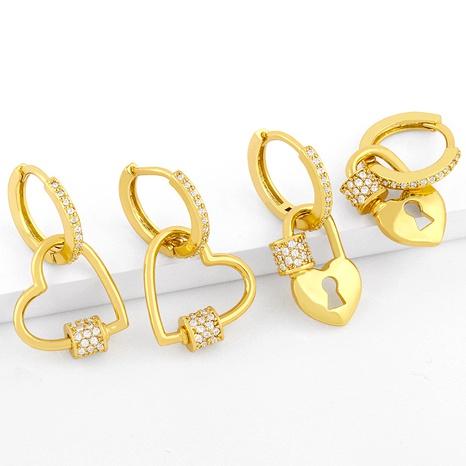 Peach heart lock earrings NHAS289228's discount tags
