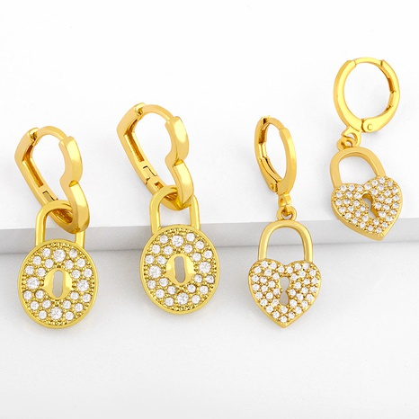 retro peach heart inlaid zircon earrings NHAS289233's discount tags