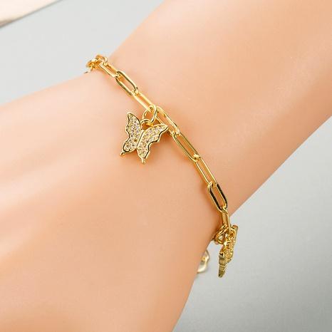 pendentif papillon bracelet zircon incrusté d'or 18 carats plaqué cuivre NHLN289239's discount tags