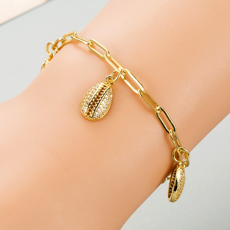 fashion simple shell pendant copper micro-inlaid zircon bracelet NHLN289240's discount tags