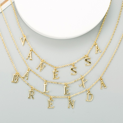 alloy letter necklace  NHLN289241's discount tags