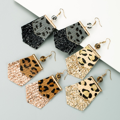 leopard print long leather earrings  NHLN289256's discount tags