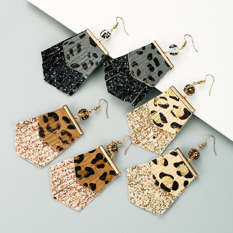 leopard print long leather earrings  NHLN289256