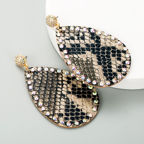 drop-shaped double-sided PU leather snakeskin pattern diamond earrings NHLN289258's discount tags