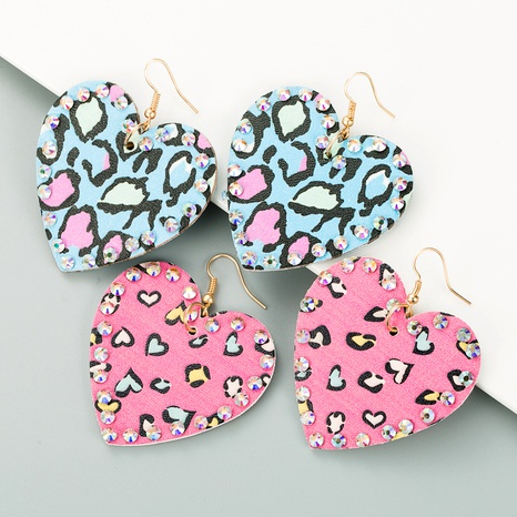 PU leather double-sided heart-shaped rhinestones long earrings NHLN289260's discount tags