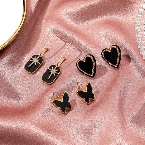 boucles d'oreilles papillon rétro en acrylique coeur noir NHDP289262's discount tags