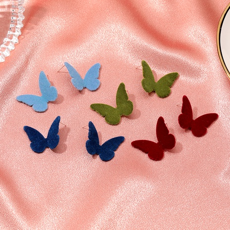 butterfly retro solid color velvet earrings NHDP289263's discount tags