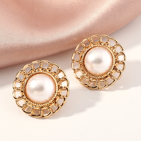 fashion golden pearl earrings NHNZ289278's discount tags