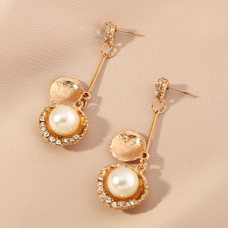 fashion golden shell zircon pearl long earrings NHNZ289281's discount tags
