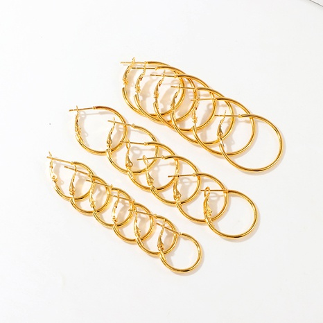 circle metal 9 pairs earrings set NHNZ289288's discount tags