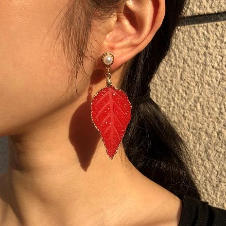 imitation pearl leaf earrings  NHMD289292's discount tags