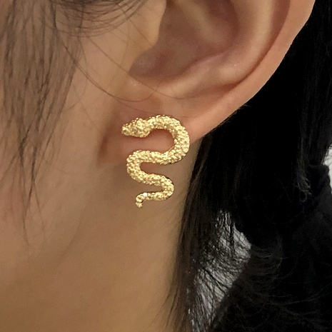 snake-shaped metal retro earrings NHMD289296's discount tags