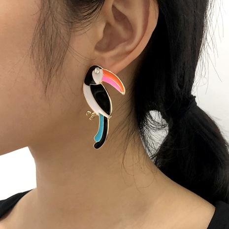 bird color alloy diamond-studded earrings NHMD289301's discount tags