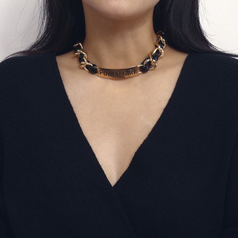 collar de letras PU de aleación simple de moda NHMD289306's discount tags