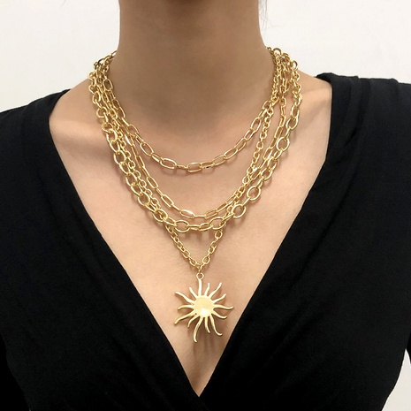 Multilayer Sunflower Retro Necklace NHMD289312's discount tags
