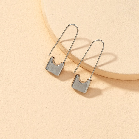 simple small lock-shaped earrings NHPF289332's discount tags