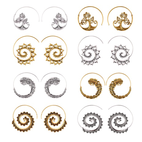 punk circle spiral earings NHAJ289408's discount tags